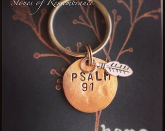 Psalm 91 Penny Keychain with Feather