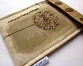 iPad mini, kindle fire sleeve, nook hd case - hand embroidered gadget cover - muted brown queen anne's lace - unique gift