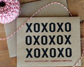 XOXO Card - Typographic Modern Hugs and Kisses Love Greeting Card