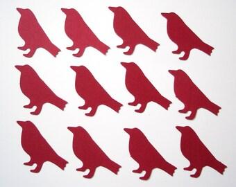 50 Red Crow Bird punch die cut confetti embellishments - No866