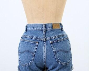 high waist denim shorts, vintage Lee cut offs, 1980s jorts waist 28