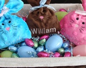 2 PERSONALIZED BUNNY Treat Bag -  Easter Bunny Personalized Candy Holder