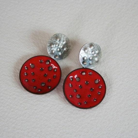 Really Red Enamel Earrings