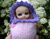 120. French and english knitting pattern PDF - Baby's sleeping bag for BJD doll Nappy choo