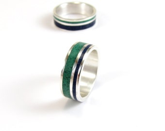 Wedding  Band Set, TWO Sterling Silver Rings, Blue, Green, Color Lines, Unisex, Contemporary, Modern