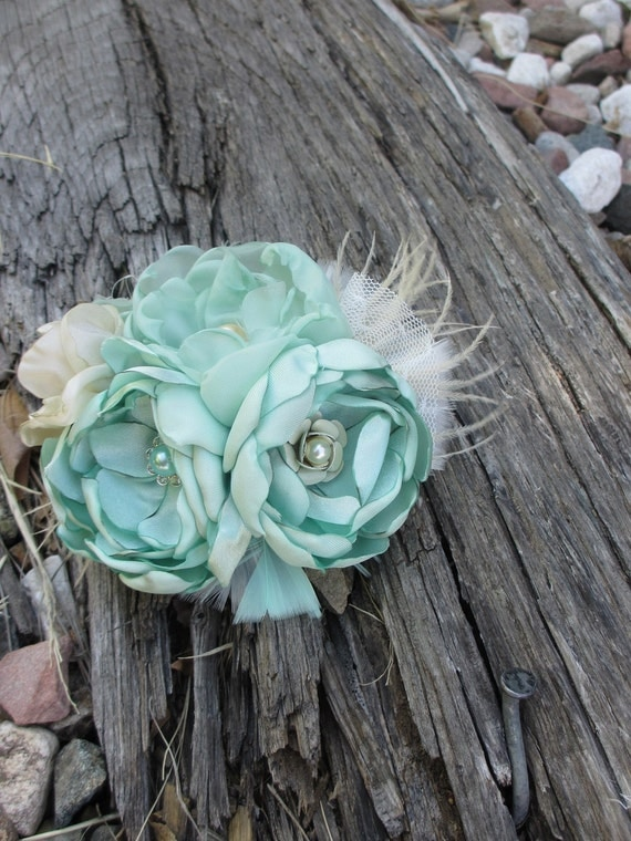 Handmade Vintage Style Fabric Hair Flower in Mint and Cream