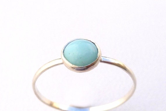 Blue Opal  Ring  Round  Bezel Silver Stack  Peruvian Blue Ring  Stackable