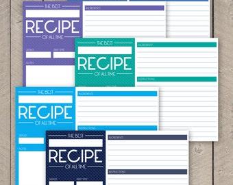 Kitchen Recipe Cards Printable Retro Vintage Style Recipe Organisers