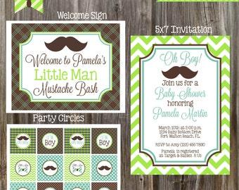 Little Man Mustache Bash - Baby Shower Package - Boy DIY Printable
