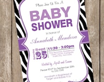 Girl Baby Shower Invitation Purple and Black Zebra Baby Shower Invitation printable invitation 20130116-K1-2