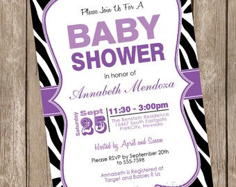 Girl Baby Shower Invitation Purple and Black Zebra Baby Shower Invitation printable invitation 20130116-K1-2