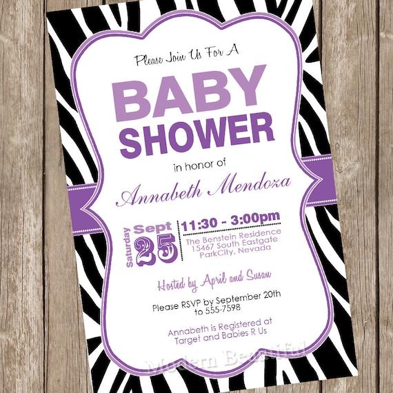 baby shower invitation purple and black zebra baby shower invitation