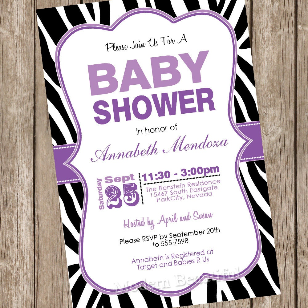 girl baby shower invitation purple and black zebra baby shower
