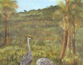 Original wildlife, acrylic painting, Sand Hill Cranes And Babies, 24x30 stretched canvas, art on canvas