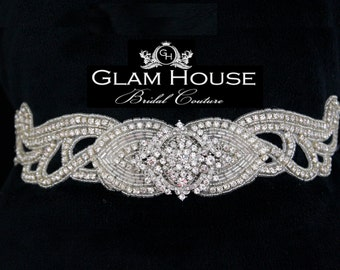 Jeweled Wedding belt,bridal accessories,bridal belt,Vintage wedding,Bridal sash,wedding sash,dress belt,rhinestone belt,winter wedding,sash