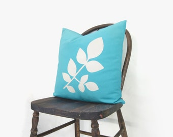 SALE || 18x18 Botanical Pillow Cover | Outdoor Garden Decor | Leaves Pattern in Bright Aqua Blue and Off white | Accent Cushion Cover