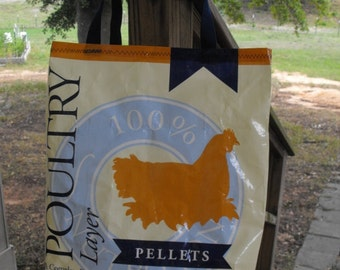 Large Upcycled Recycled Chicken Feed Bag Tote, Grocery Bag, Market Bag, Charity Tote, Carry-all, Nylon Handles, Machine Washable