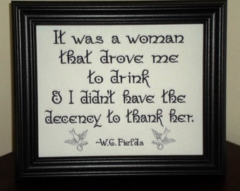 """Funny sign WC Fields Quote """"Gratitude""""  8x10 inch Framed Embroidery- adjustable in color"""
