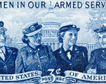 Women in our Armed Forces -  8 x 13 inch Stretched Canvas Print of US Postage Stamp