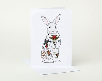 Tattoo Rabbit Greeting Card (white bunny)