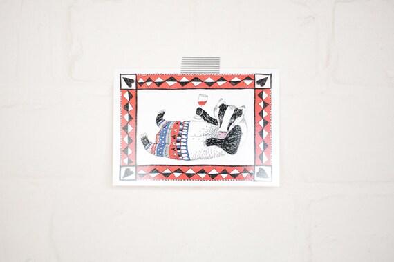 Tipsy Badger Postcard