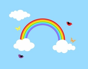Reusable Rainbow Wall Decal Children Wall Decal Kids Sticker Room Decor Large