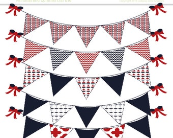 Nautical Bunting Banner Clip Art INSTANT DOWNLOAD Red White Blue Digital Clipart Sailing Pennant Flag Graphics Stitched Outlines