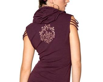 Women's Slinky Cowl Neck Hoody Top - PLUM