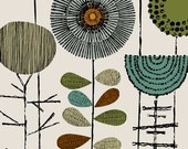 Embroidery Flowers Khaki, limited edition giclee print