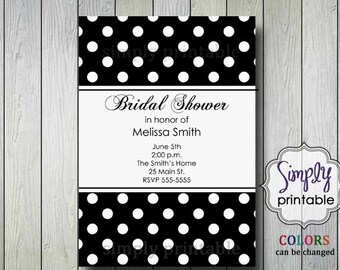 Polka Dot Bridal Shower Invitation (Digital File)