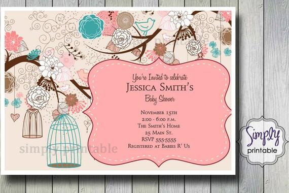 Birdcage Shower Invitation Blue & Pink