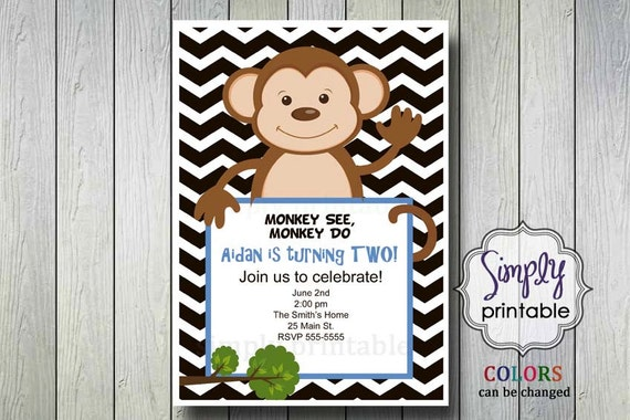 Boy/Girl Monkey Birthday Invitation