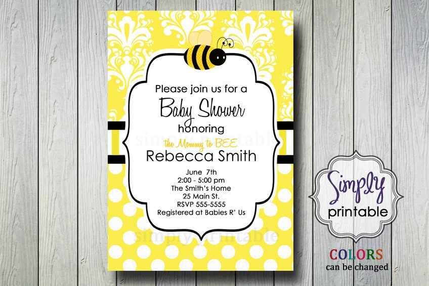 mommy to bee bumble bee baby shower invitation