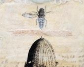 "Original Encaustic Art- ""The Thing About Bees""  Encaustic painting, Bee Art by Angela Petsis"