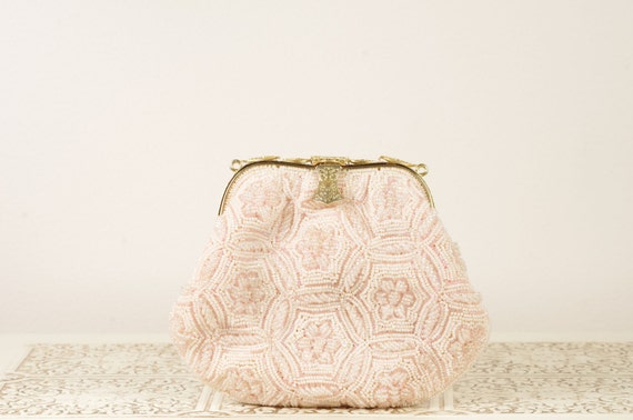 Vintage Blush Colored Purse Pink Evening Bag Clutch Beaded