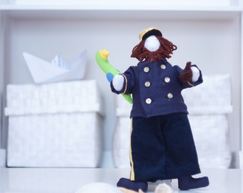 Seaman toy, Captain cloth doll, Sailor art doll, Nautical stuffed doll, Character cotton toy with pipe and parrot, Size 12', Boy gift