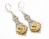 Steampunk Earrings GOLD SILVER Steampunk Bride Steampunk Vintage Watch Dangle Earrings Steampunk Wedding Jewelry by Victorian Curiosities