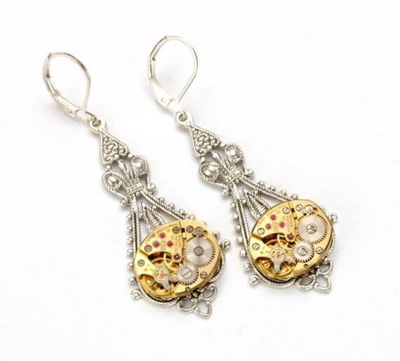 STEAMPUNK WEDDING Earrings GOLD SILVeR Steampunk Bride Steampunk Vintage Watch Dangle Earrings Steampunk Jewelry by Victorian Curiosities