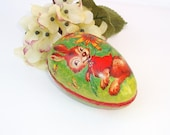 Paper Mache Egg, German Candy Containers, Vintage Easter Decorations, Red Rabbit / Orange / Green