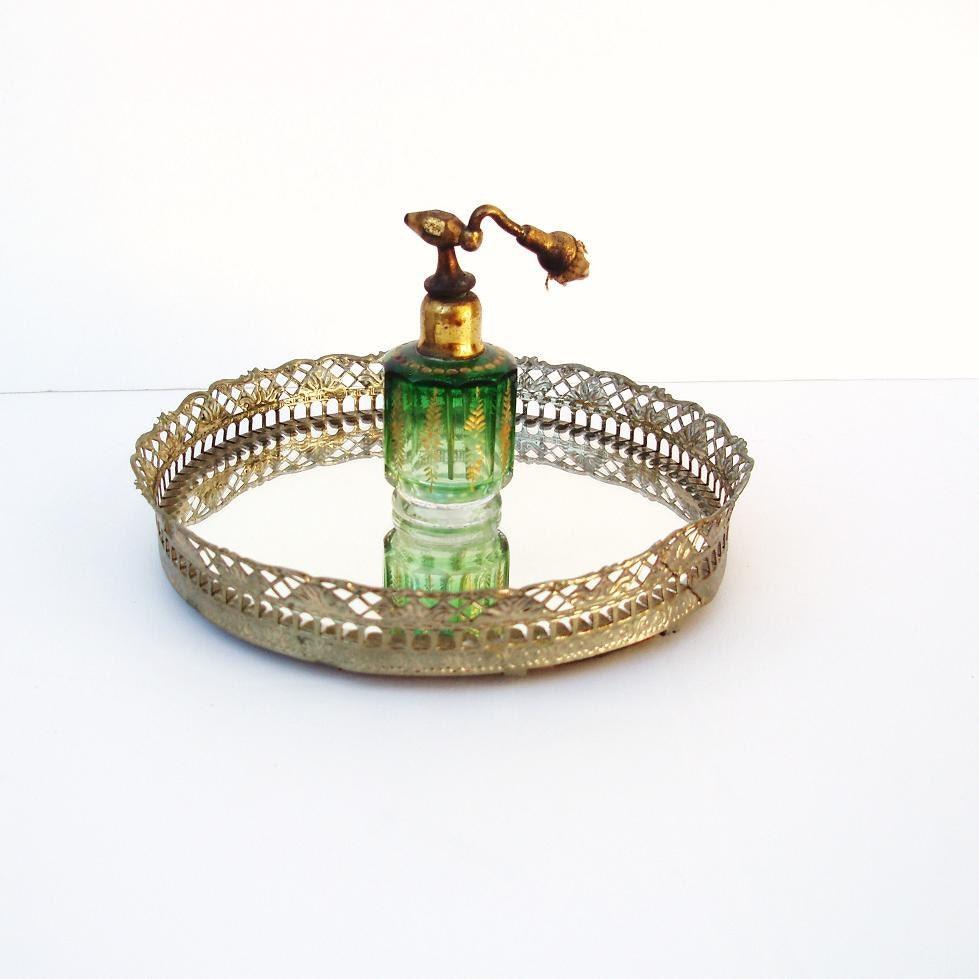 Round Vanity Tray Brass Filigree Dresser Perfume Tray Round