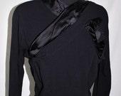 Vintage 40s Black Dress with Satin Trim by David Levine sz small