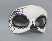 Purple Day of the Dead Side Spiderweb Leather Mask