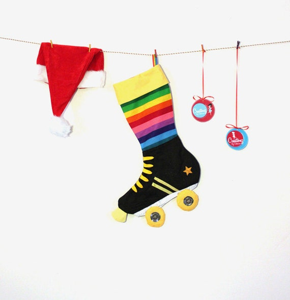 Skate Christmas Stocking:  Rainbow roller derby skate stockings