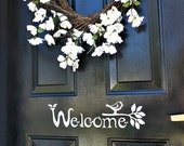 Welcome Sign Vinyl Front Door Decal with bird and branch