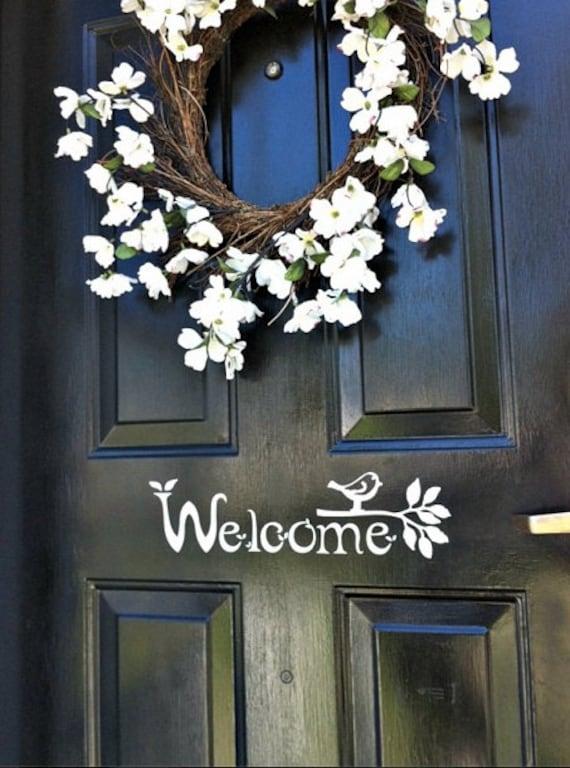 Welcome Sign Vinyl Front Door Decal With Bird And Branch