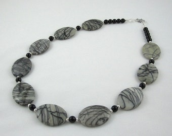 Black Stripe Agates, Onyx Statement Necklace, Unique Jewelry Retirement Gift Ideas for Mother of the Groom, Wife, Bohemian Chakra Necklace