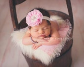 Baby Flower Headband- Light Pink Ruffled Chiffon Flower with Rhinestone and Pearl Center on White Elastic Band