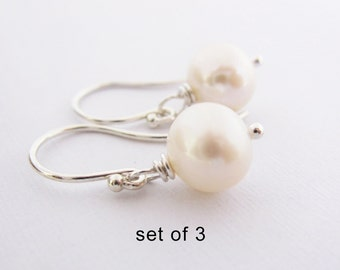 Discounted Set of 3 Simple Classic Round White Freshwater Pearl Earrings, Argentium Sterling Silver French Hoops, Bridesmaid Gift, Wedding