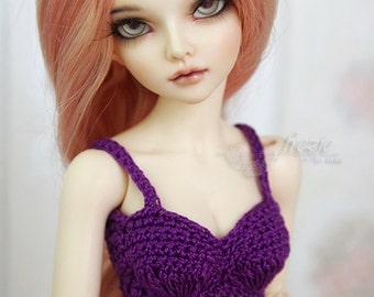 Purple short crochet top, halter for MSD