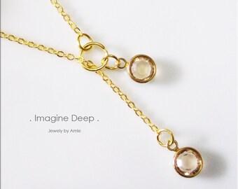 50% off SPECIAL - Light Honey Brown Lariat Necklace - Gold Plated Light Brown Topaz-Like Swarovski Crystal